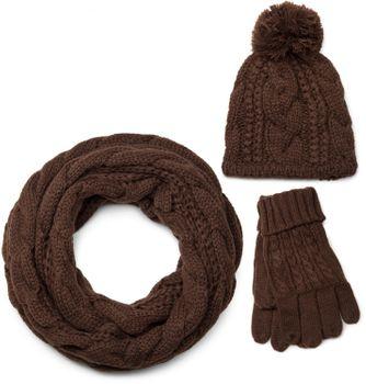 styleBREAKER Schal, Mütze und Handschuh Set, Zopfmuster Strickschal mit Bommelmütze und Handschuhe, Damen 01018208 – Bild 7