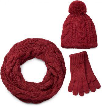 styleBREAKER Schal, Mütze und Handschuh Set, Zopfmuster Strickschal mit Bommelmütze und Handschuhe, Damen 01018208 – Bild 1