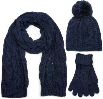 styleBREAKER scarf, cap and glove set, braid pattern knit scarf with Bobble Cap and gloves, women 01018208 – Bild 10