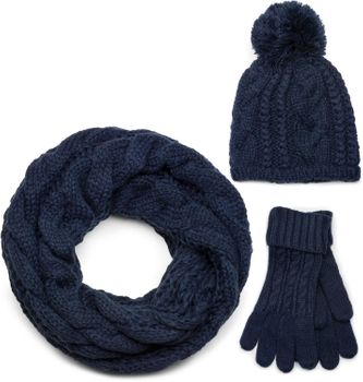 styleBREAKER scarf, cap and glove set, braid pattern knit scarf with Bobble Cap and gloves, women 01018208 – Bild 9
