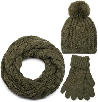 styleBREAKER Schal, Mütze und Handschuh Set, Zopfmuster Strickschal mit Bommelmütze und Handschuhe, Damen 01018208 – Bild 11