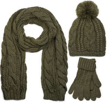 styleBREAKER scarf, cap and glove set, braid pattern knit scarf with Bobble Cap and gloves, women 01018208 – Bild 12