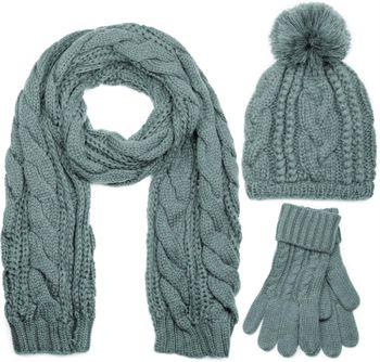 styleBREAKER Schal, Mütze und Handschuh Set, Zopfmuster Strickschal mit Bommelmütze und Handschuhe, Damen 01018208 – Bild 16