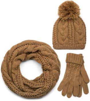 styleBREAKER Schal, Mütze und Handschuh Set, Zopfmuster Strickschal mit Bommelmütze und Handschuhe, Damen 01018208 – Bild 13