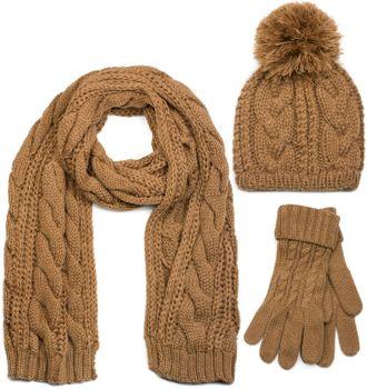styleBREAKER Schal, Mütze und Handschuh Set, Zopfmuster Strickschal mit Bommelmütze und Handschuhe, Damen 01018208 – Bild 14