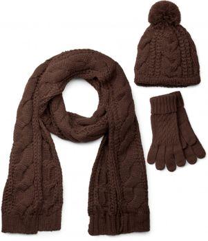 styleBREAKER Schal, Mütze und Handschuh Set, Zopfmuster Strickschal mit Bommelmütze und Handschuhe, Damen 01018208 – Bild 8
