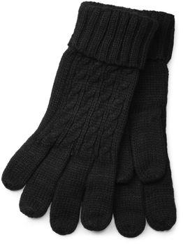 styleBREAKER Schal, Mütze und Handschuh Set, Zopfmuster Strickschal mit Bommelmütze und Handschuhe, Damen 01018208 – Bild 30