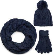 styleBREAKER Schal, Mütze und Handschuh Set, Zopfmuster Strickschal mit Bommelmütze und Handschuhe, Damen 01018208 – Bild 9