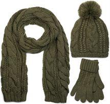 styleBREAKER Schal, Mütze und Handschuh Set, Zopfmuster Strickschal mit Bommelmütze und Handschuhe, Damen 01018208 – Bild 12
