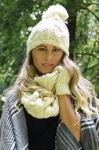 styleBREAKER Schal, Mütze und Handschuh Set, Zopfmuster Strickschal mit Bommelmütze und Handschuhe, Damen 01018208 – Bild 68