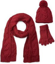 styleBREAKER scarf, cap and glove set, braid pattern knit scarf with Bobble Cap and gloves, women 01018208 – Bild 2