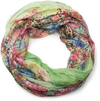 styleBREAKER flowers pattern loop tube scarf, crash and crinkle, silky and light, floral design, women 01016091 – Bild 1