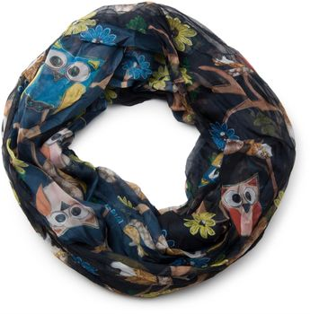 styleBREAKER owls, squirrels and flower pattern loop tube scarf, crash and crinkle, silky and light, women 01016092 – Bild 17