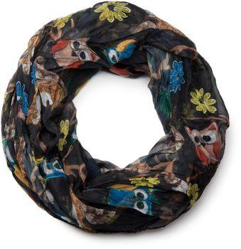 styleBREAKER Eulen, Eichhörnchen und Blumen Muster Loop Schlauchschal, Crash and Crinkle, seidig leicht, Damen 01016092 – Bild 7