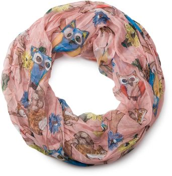styleBREAKER owls, squirrels and flower pattern loop tube scarf, crash and crinkle, silky and light, women 01016092 – Bild 1