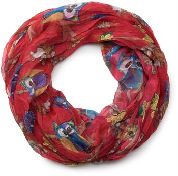styleBREAKER owls, squirrels and flower pattern loop tube scarf, crash and crinkle, silky and light, women 01016092 – Bild 13