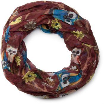 styleBREAKER Eulen, Eichhörnchen und Blumen Muster Loop Schlauchschal, Crash and Crinkle, seidig leicht, Damen 01016092 – Bild 5