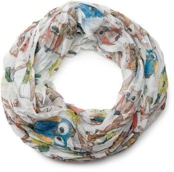 styleBREAKER owls, squirrels and flower pattern loop tube scarf, crash and crinkle, silky and light, women 01016092 – Bild 9