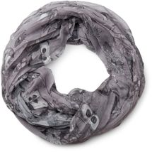 styleBREAKER owls, squirrels and flower pattern loop tube scarf, crash and crinkle, silky and light, women 01016092 – Bild 11