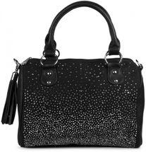 styleBREAKER Bowling Bag Handtasche mit Nieten Strass Applikation im Sternenhimmel Design, Damen 02012021 – Bild 3