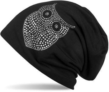 styleBREAKER classic beanie hat with owl rhinestone application, women 04024039 – Bild 3