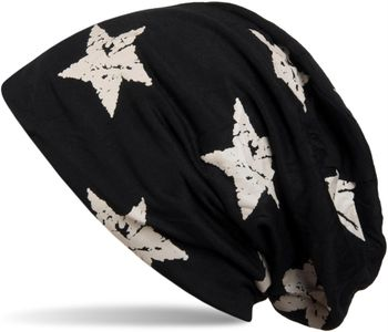 styleBREAKER beanie hat with stars print in destroyed vintage look, Unisex 04024041 – Bild 3