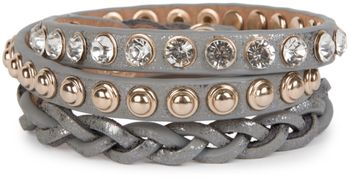 styleBREAKER leather bracelet with rhinestones, round rivets and weaving, wrap bracelet, women 05040015 – Bild 2