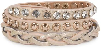 styleBREAKER leather bracelet with rhinestones, round rivets and weaving, wrap bracelet, women 05040015 – Bild 3