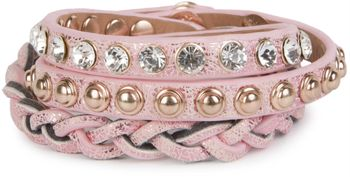 styleBREAKER leather bracelet with rhinestones, round rivets and weaving, wrap bracelet, women 05040015 – Bild 4
