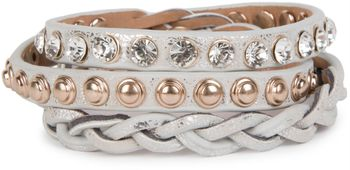styleBREAKER leather bracelet with rhinestones, round rivets and weaving, wrap bracelet, women 05040015 – Bild 8