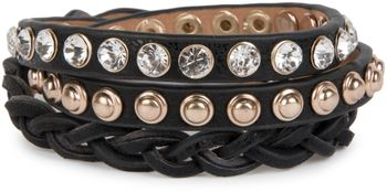 styleBREAKER leather bracelet with rhinestones, round rivets and weaving, wrap bracelet, women 05040015 – Bild 20
