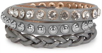 styleBREAKER leather bracelet with rhinestones, round rivets and weaving, wrap bracelet, women 05040015 – Bild 9