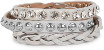 styleBREAKER leather bracelet with rhinestones, round rivets and weaving, wrap bracelet, women 05040015 – Bild 12