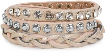 styleBREAKER leather bracelet with rhinestones, round rivets and weaving, wrap bracelet, women 05040015 – Bild 10