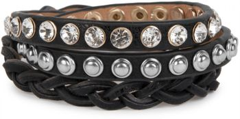 styleBREAKER leather bracelet with rhinestones, round rivets and weaving, wrap bracelet, women 05040015 – Bild 11
