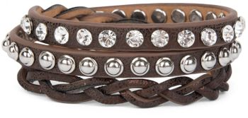styleBREAKER leather bracelet with rhinestones, round rivets and weaving, wrap bracelet, women 05040015 – Bild 16