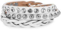 styleBREAKER leather bracelet with rhinestones, round rivets and weaving, wrap bracelet, women 05040015 – Bild 13