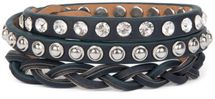 styleBREAKER leather bracelet with rhinestones, round rivets and weaving, wrap bracelet, women 05040015 – Bild 17