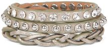 styleBREAKER leather bracelet with rhinestones, round rivets and weaving, wrap bracelet, women 05040015 – Bild 19