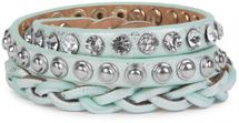 styleBREAKER leather bracelet with rhinestones, round rivets and weaving, wrap bracelet, women 05040015 – Bild 14