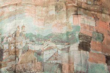 styleBREAKER seidiger Loop Schlauchschal mit malerischem Häuserprint, Damen 01016098 – Bild 5
