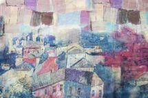 styleBREAKER seidiger Loop Schlauchschal mit malerischem Häuserprint, Damen 01016098 – Bild 12
