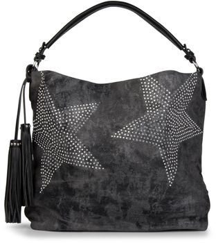 styleBREAKER denim hobo bag with rhinestone star detailling and tassels, in a stylish antique look, women 02012035 – Bild 5