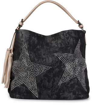 styleBREAKER denim hobo bag with rhinestone star detailling and tassels, in a stylish antique look, women 02012035 – Bild 1