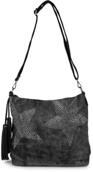 styleBREAKER denim hobo bag with rhinestone star detailling and tassels, in a stylish antique look, women 02012035 – Bild 6
