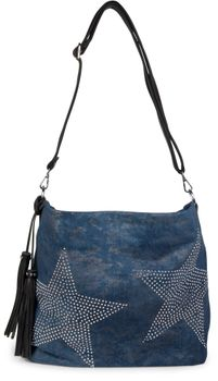 styleBREAKER denim hobo bag with rhinestone star detailling and tassels, in a stylish antique look, women 02012035 – Bild 4