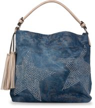 styleBREAKER denim hobo bag with rhinestone star detailling and tassels, in a stylish antique look, women 02012035 – Bild 7
