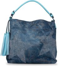 styleBREAKER denim hobo bag with rhinestone star detailling and tassels, in a stylish antique look, women 02012035 – Bild 9