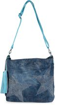 styleBREAKER denim hobo bag with rhinestone star detailling and tassels, in a stylish antique look, women 02012035 – Bild 10