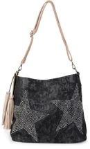 styleBREAKER denim hobo bag with rhinestone star detailling and tassels, in a stylish antique look, women 02012035 – Bild 2
